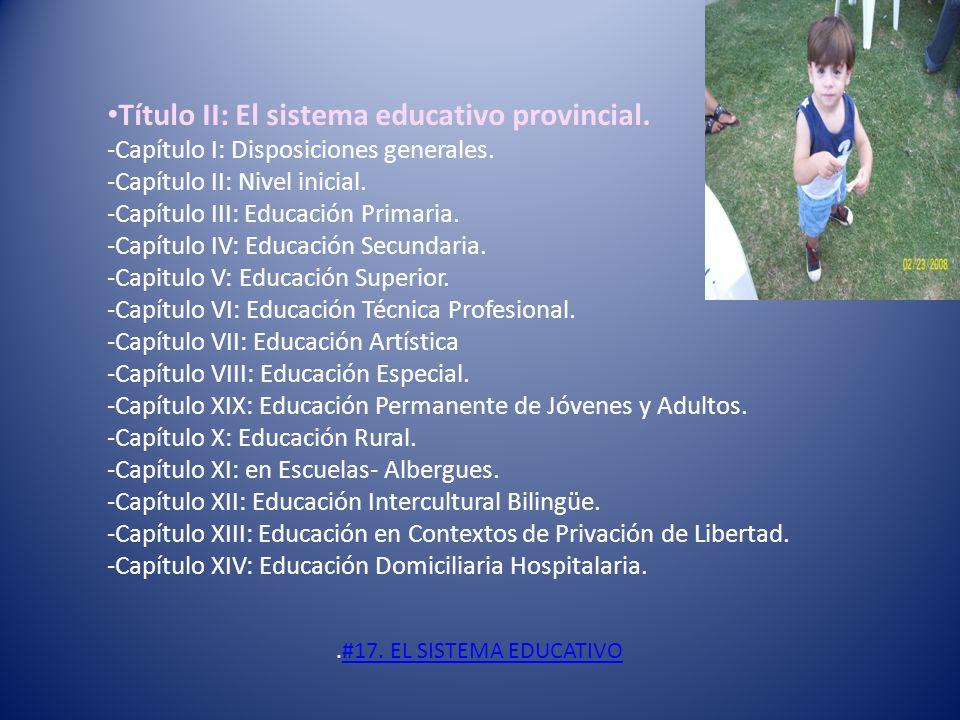 Título II: El sistema educativo provincial.