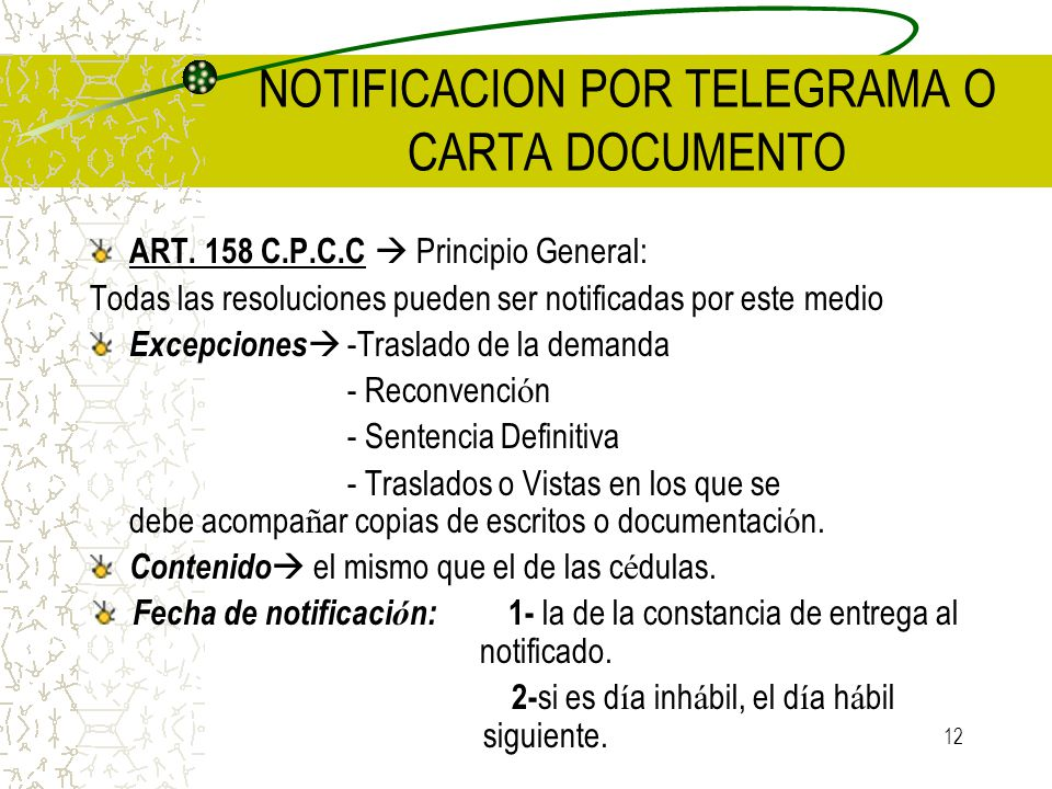 NOTIFICACION POR TELEGRAMA O CARTA DOCUMENTO
