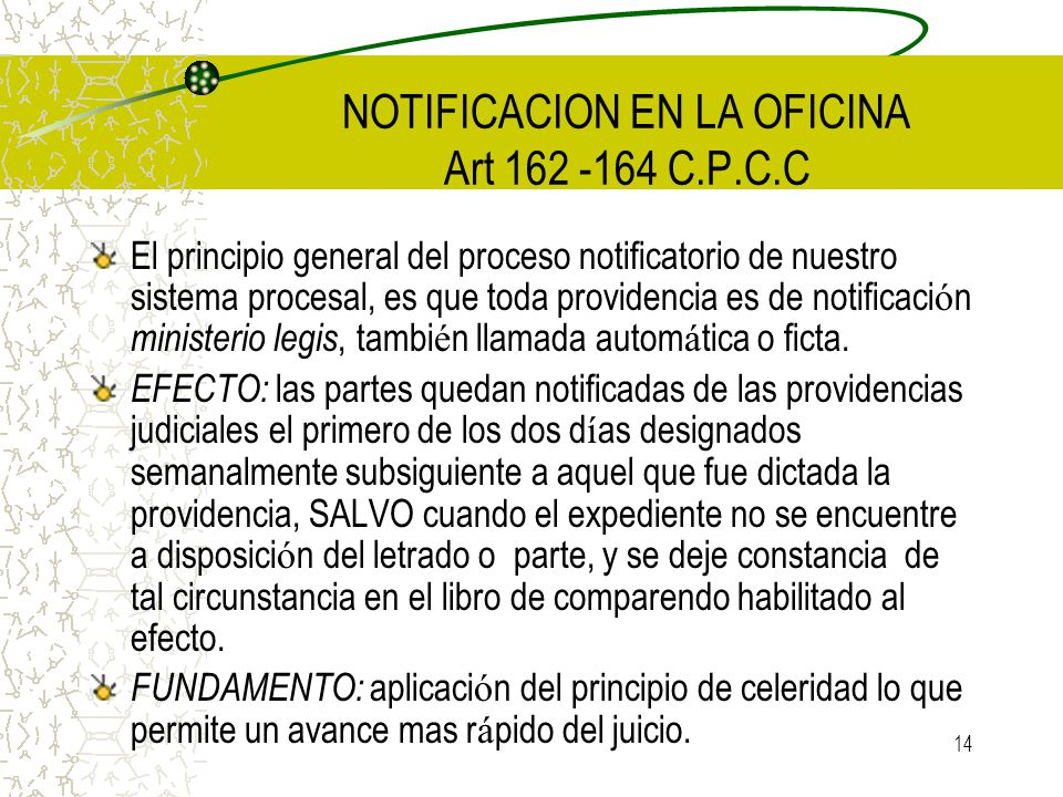 NOTIFICACION EN LA OFICINA Art 162 -164 C.P.C.C
