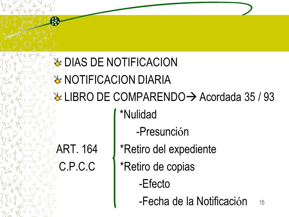 DIAS DE NOTIFICACION NOTIFICACION DIARIA. LIBRO DE COMPARENDO Acordada 35 / 93. *Nulidad. -Presunción.