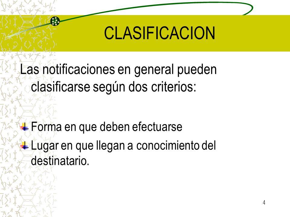 CLASIFICACION Las notificaciones en general pueden clasificarse según dos criterios: Forma en que deben efectuarse.