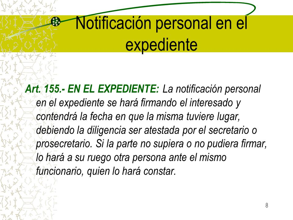 Notificación personal en el expediente