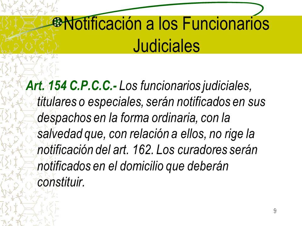 Notificación a los Funcionarios Judiciales
