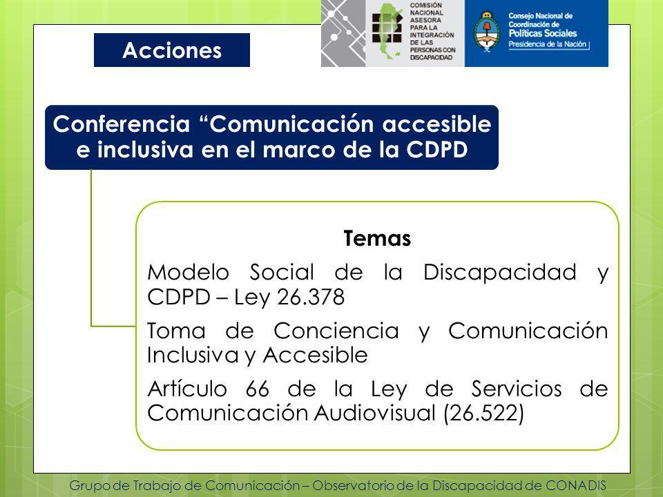 Conferencia Comunicación accesible e inclusiva en el marco de la CDPD