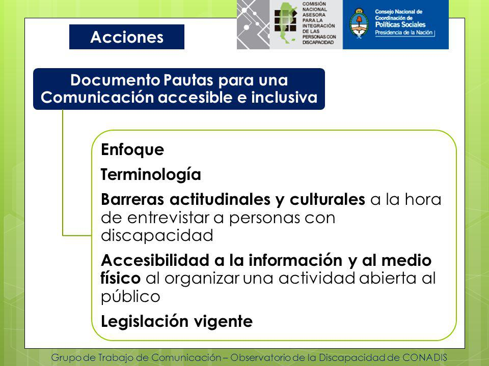 Documento Pautas para una Comunicación accesible e inclusiva