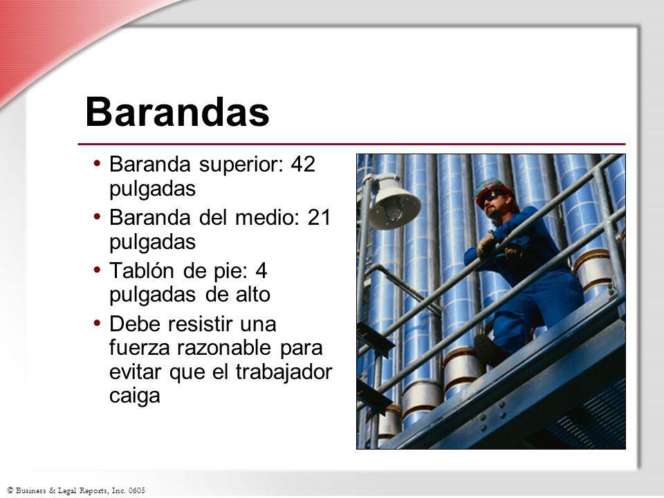 Barandas Baranda superior: 42 pulgadas Baranda del medio: 21 pulgadas