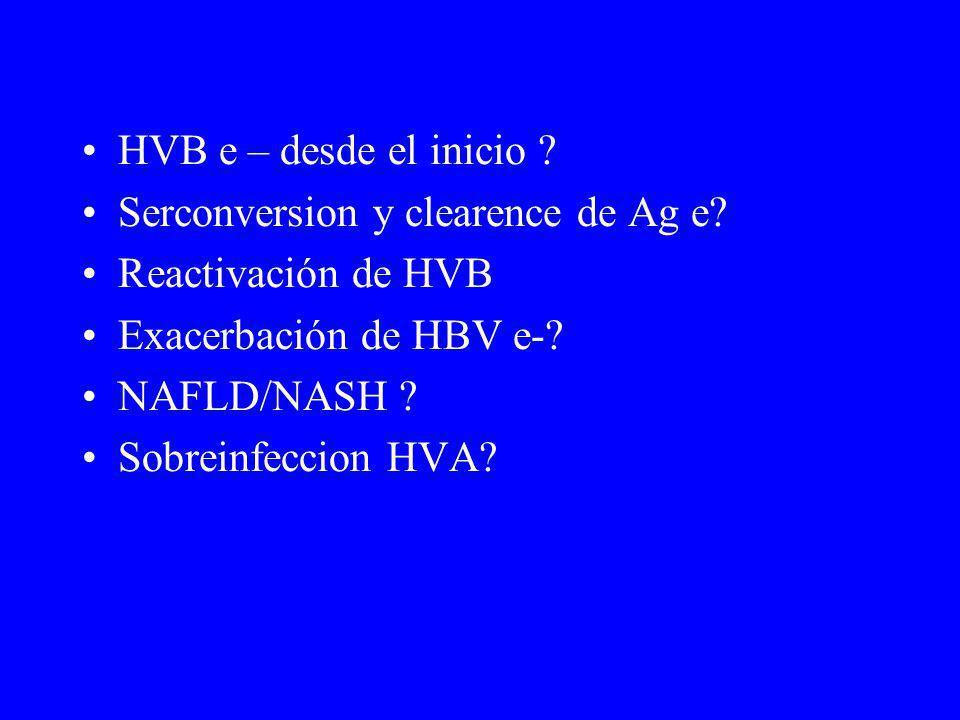 HVB e – desde el inicio Serconversion y clearence de Ag e Reactivación de HVB. Exacerbación de HBV e-