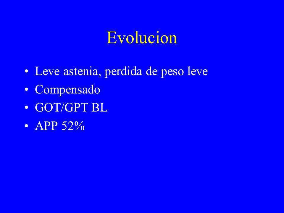Evolucion Leve astenia, perdida de peso leve Compensado GOT/GPT BL
