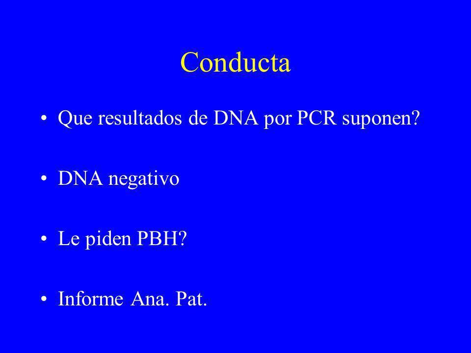 Conducta Que resultados de DNA por PCR suponen DNA negativo