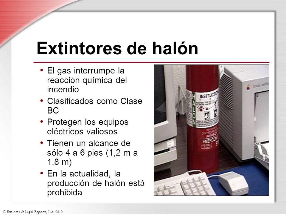 Extintores de halón El gas interrumpe la reacción química del incendio