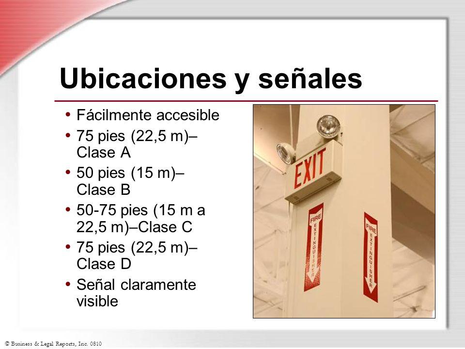 Ubicaciones y señales Fácilmente accesible 75 pies (22,5 m)– Clase A