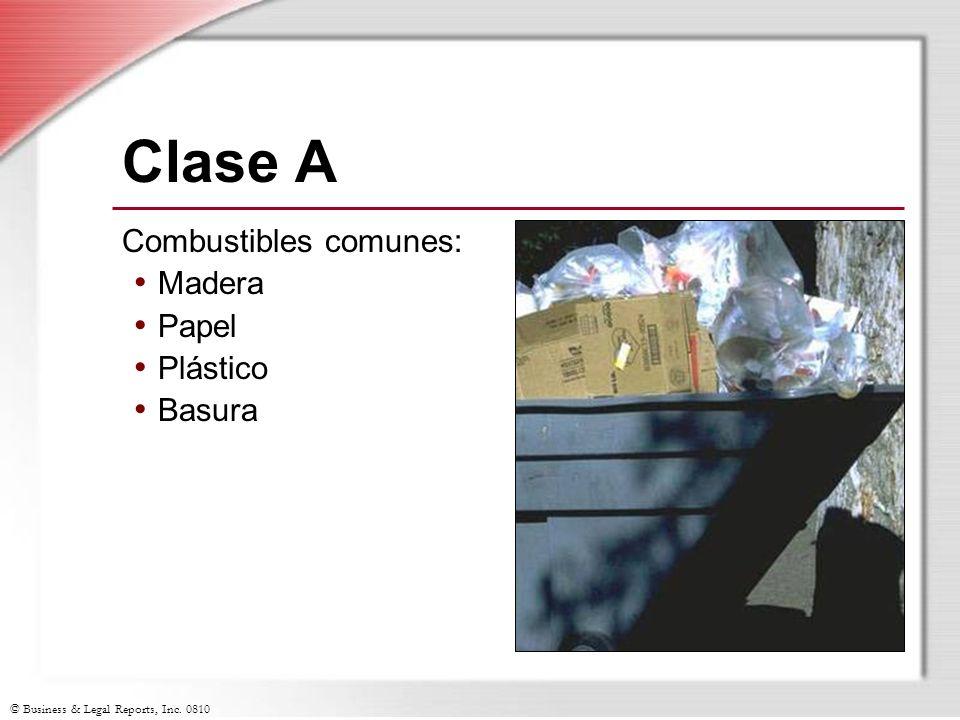 Clase A Combustibles comunes: Madera Papel Plástico Basura