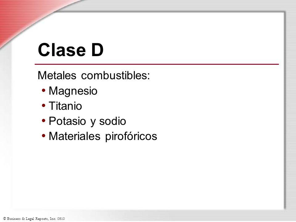 Clase D Metales combustibles: Magnesio Titanio Potasio y sodio