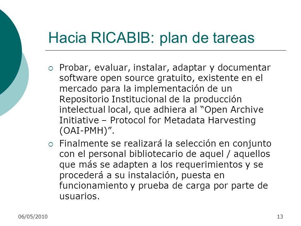 Hacia RICABIB: plan de tareas