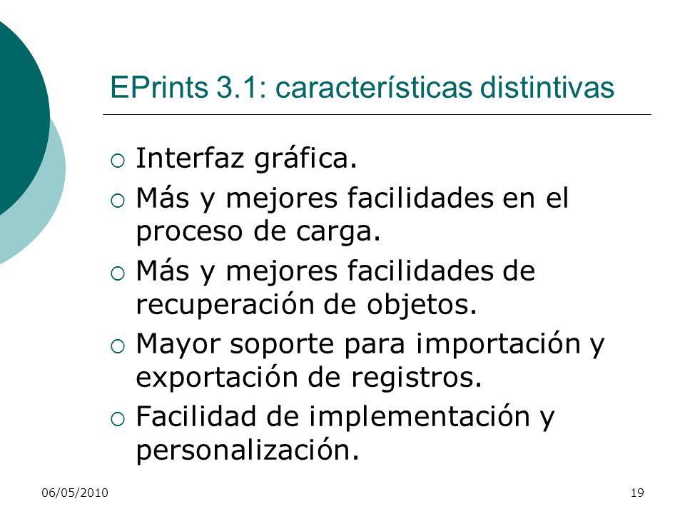 EPrints 3.1: características distintivas