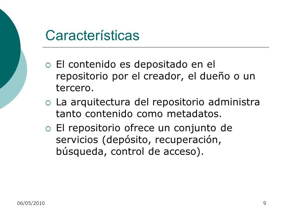 Características El contenido es depositado en el repositorio por el creador, el dueño o un tercero.