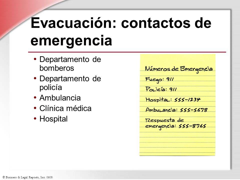 Evacuación: contactos de emergencia