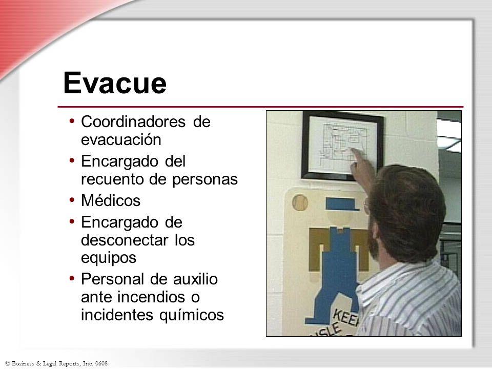 Evacue Coordinadores de evacuación Encargado del recuento de personas