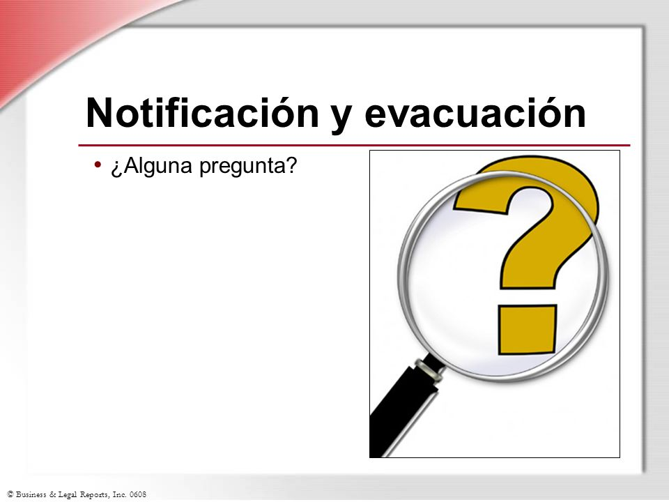 Notificación y evacuación