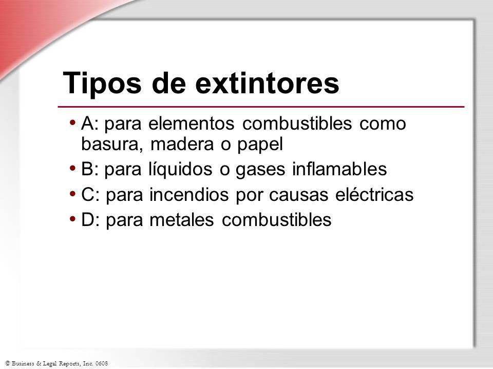 Tipos de extintores A: para elementos combustibles como basura, madera o papel. B: para líquidos o gases inflamables.