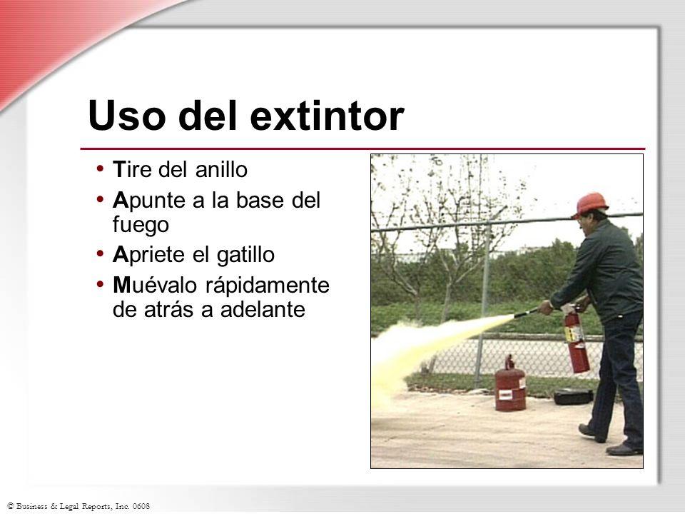Uso del extintor Tire del anillo Apunte a la base del fuego