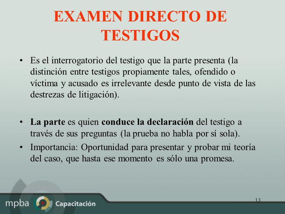 EXAMEN DIRECTO DE TESTIGOS