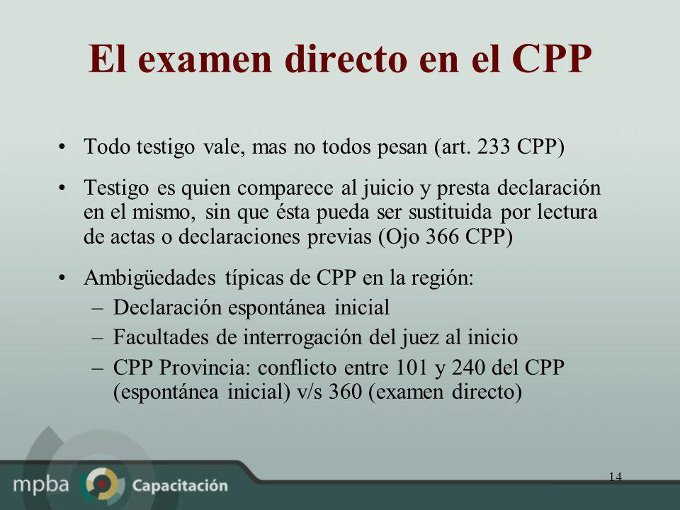 El examen directo en el CPP