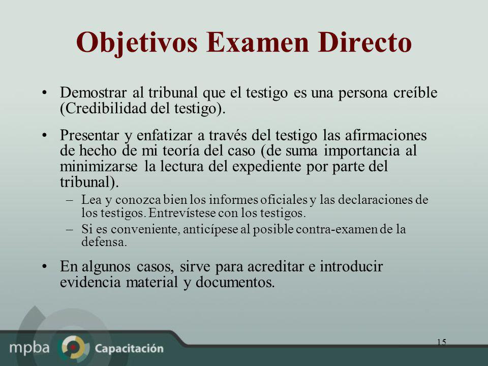Objetivos Examen Directo