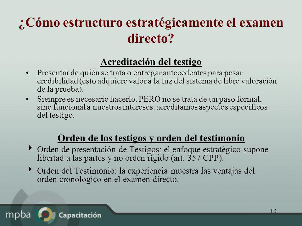¿Cómo estructuro estratégicamente el examen directo