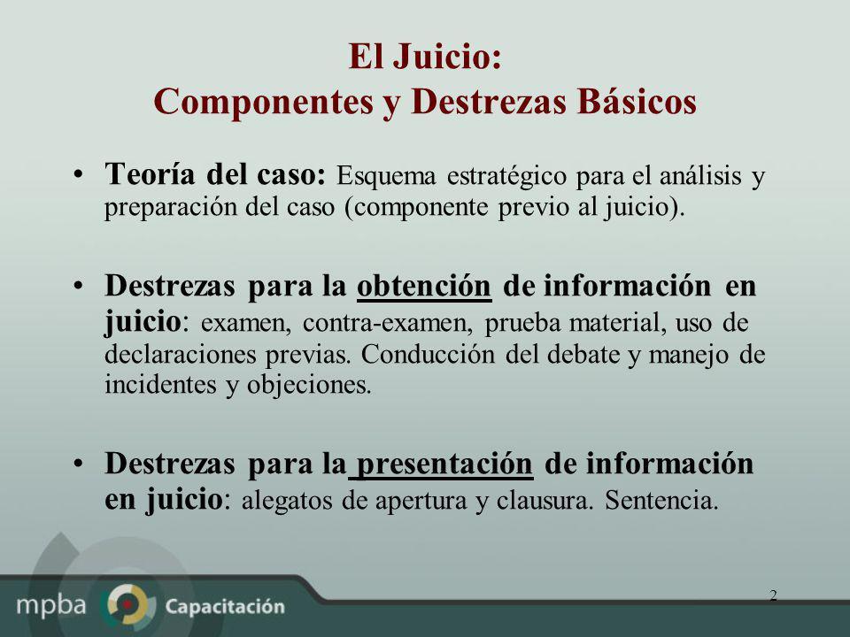 El Juicio: Componentes y Destrezas Básicos