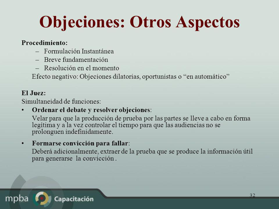 Objeciones: Otros Aspectos