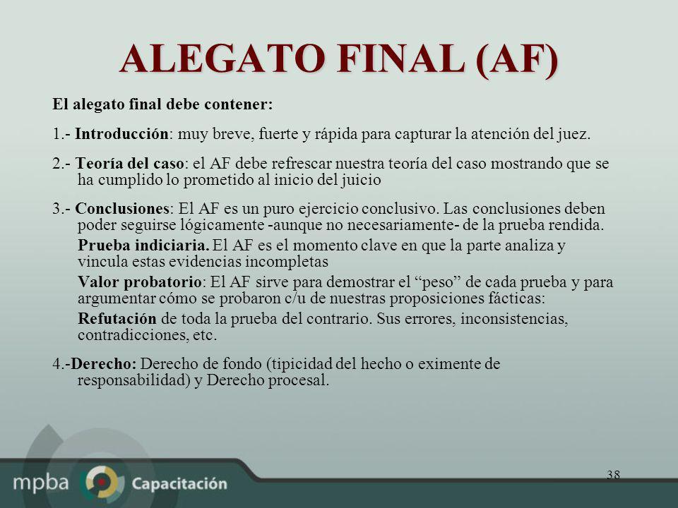 ALEGATO FINAL (AF) El alegato final debe contener: