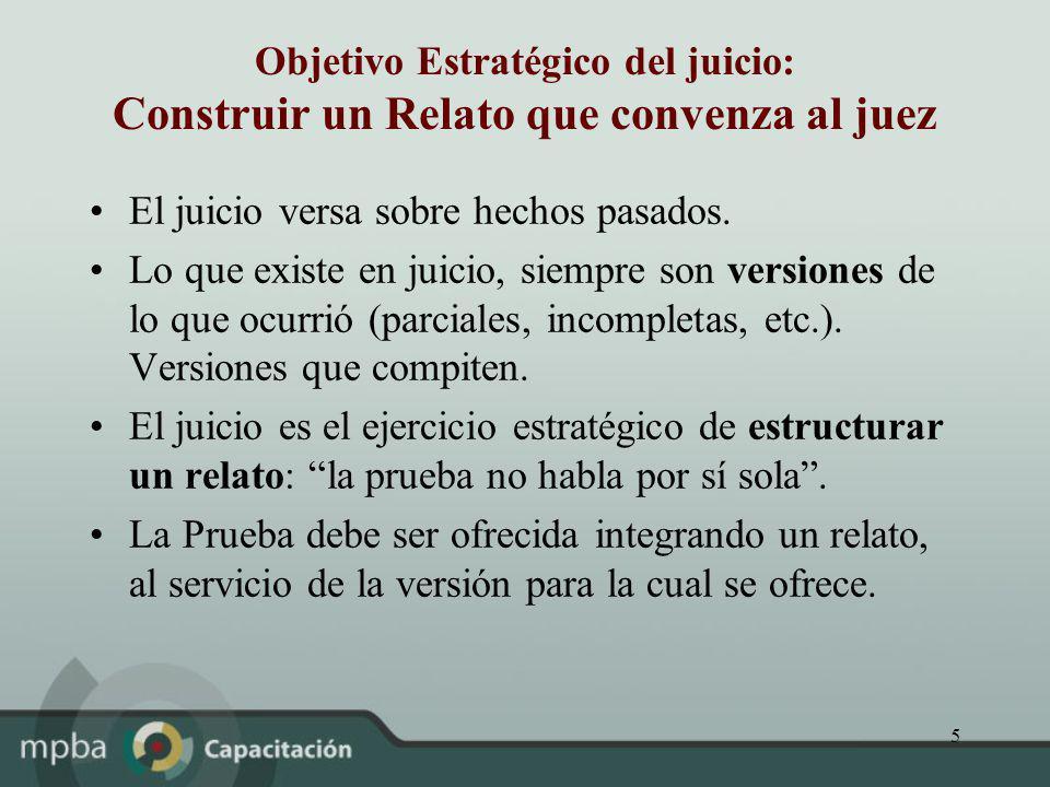 Objetivo Estratégico del juicio: Construir un Relato que convenza al juez