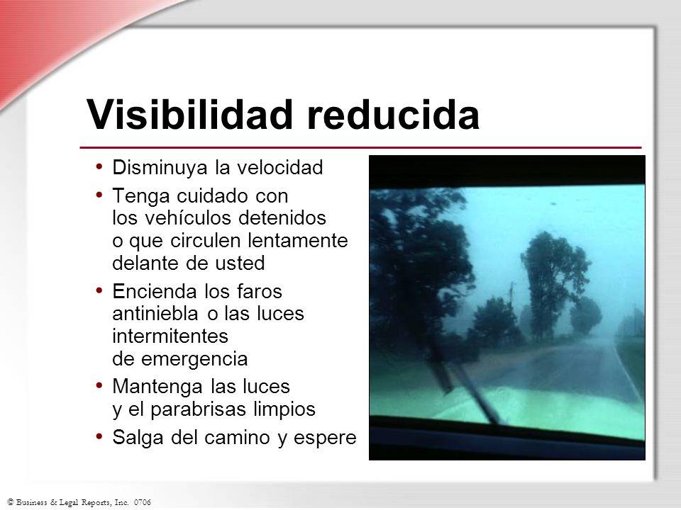 Visibilidad reducida Disminuya la velocidad