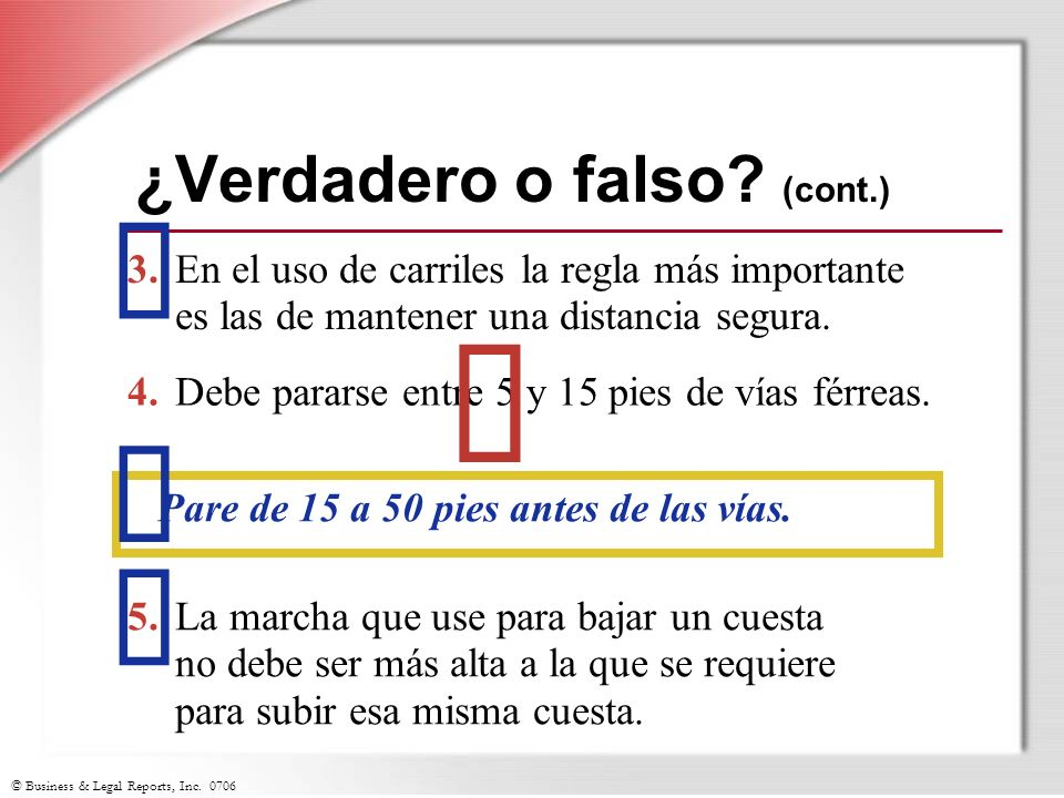 ¿Verdadero o falso (cont.)