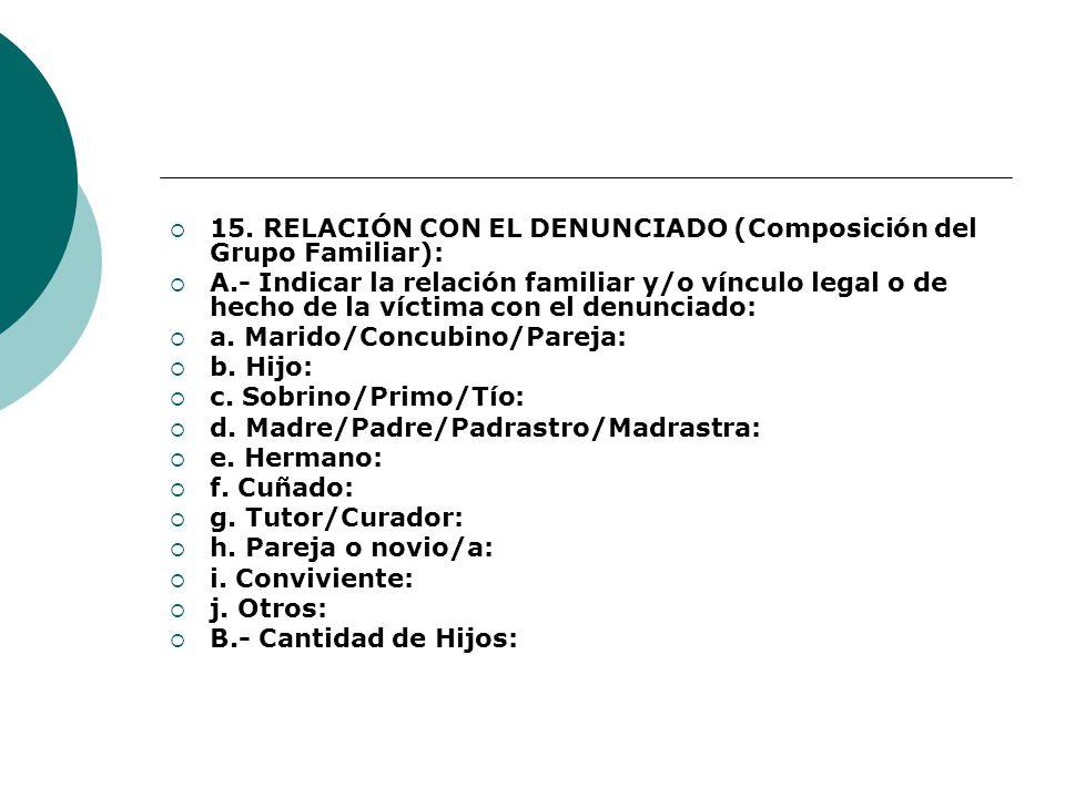 15. RELACIÓN CON EL DENUNCIADO (Composición del Grupo Familiar):