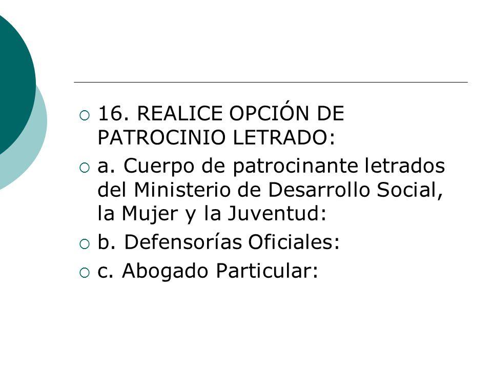 16. REALICE OPCIÓN DE PATROCINIO LETRADO:
