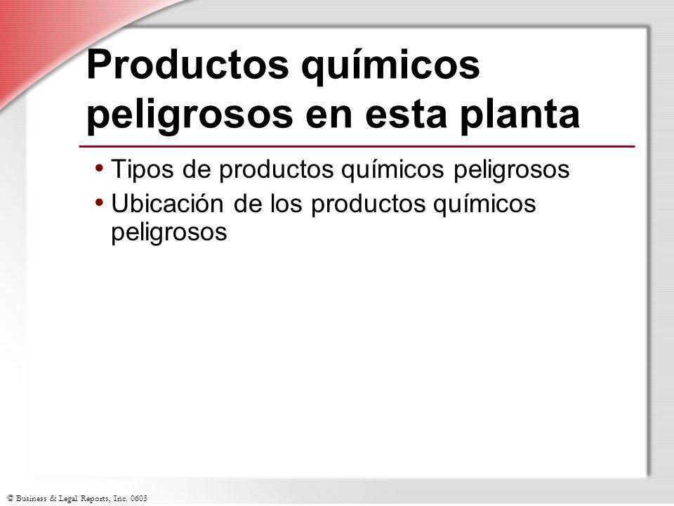 Productos químicos peligrosos en esta planta