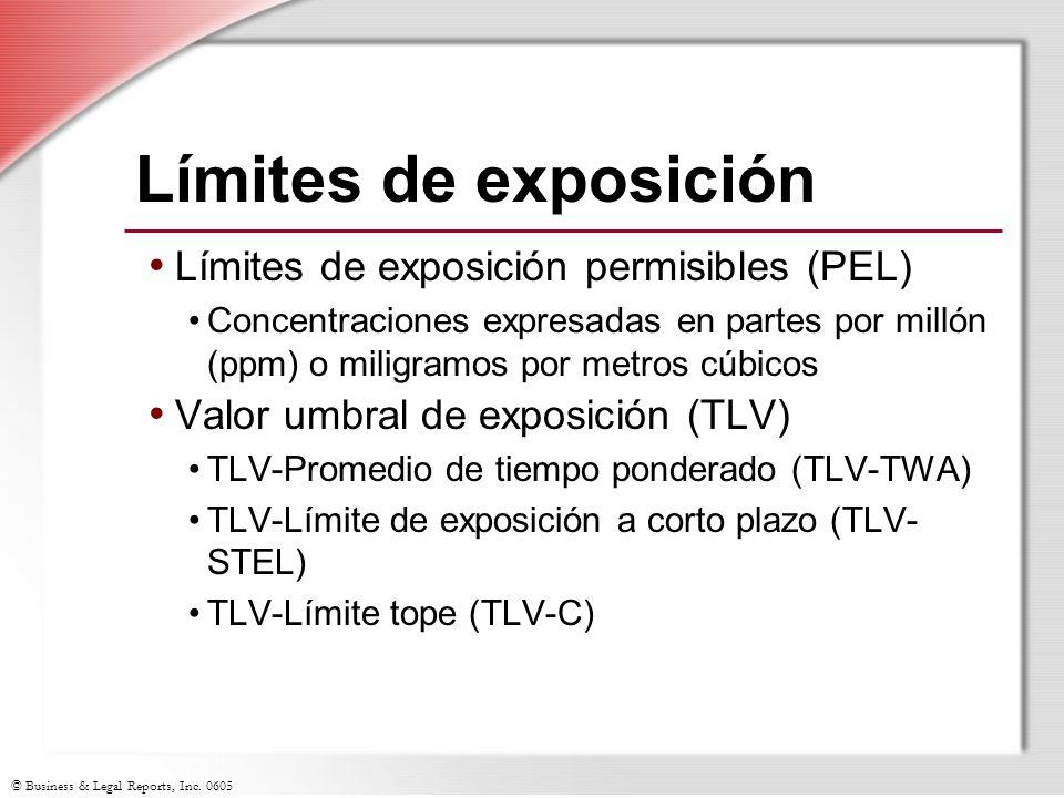 Límites de exposición Límites de exposición permisibles (PEL)