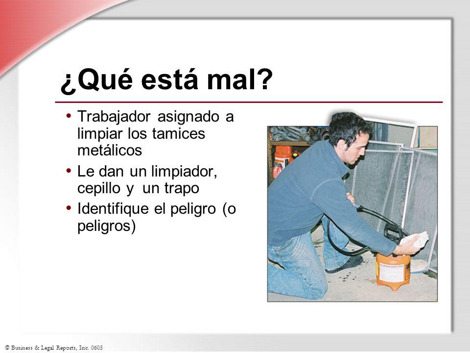 ¿Qué está mal Trabajador asignado a limpiar los tamices metálicos