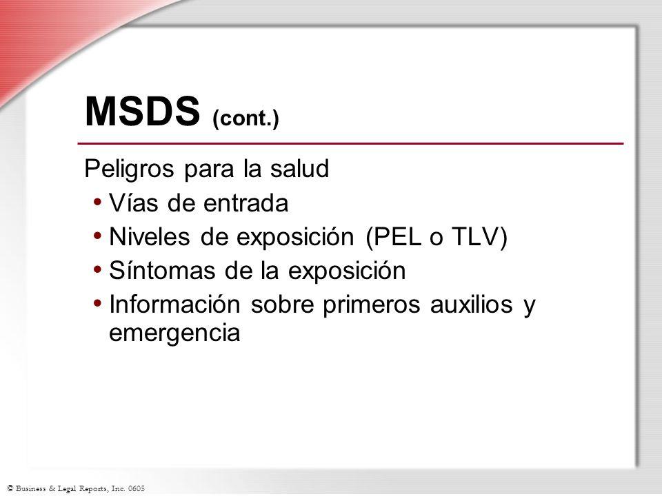 MSDS (cont.) Peligros para la salud Vías de entrada