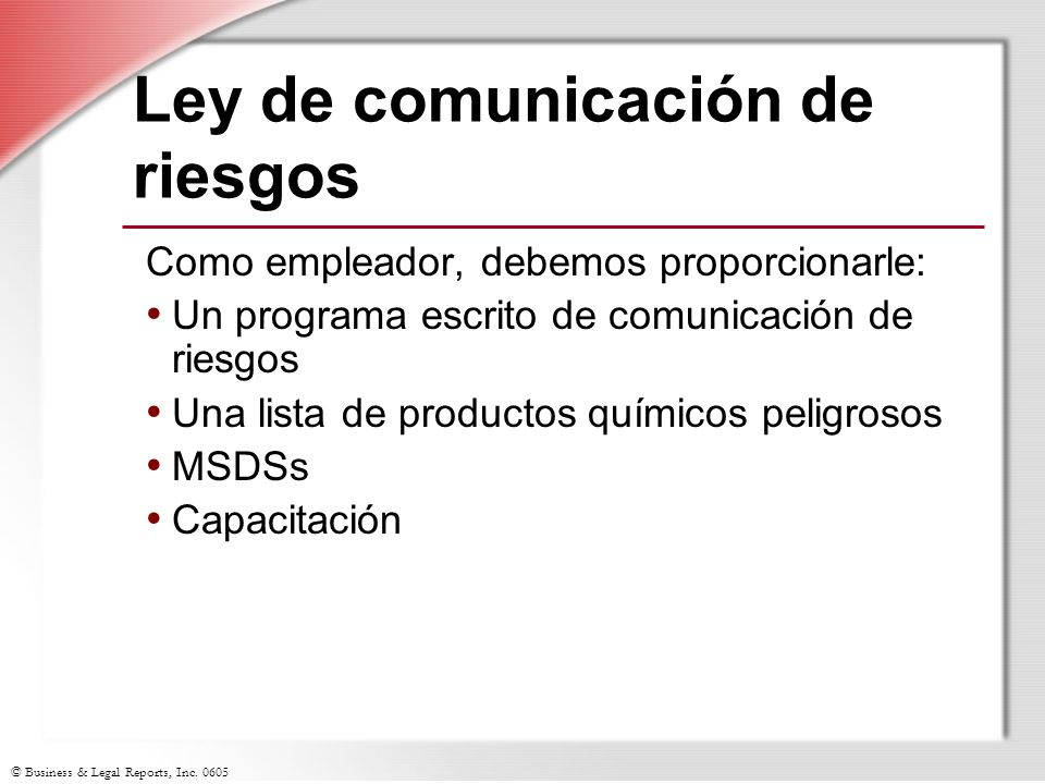 Ley de comunicación de riesgos