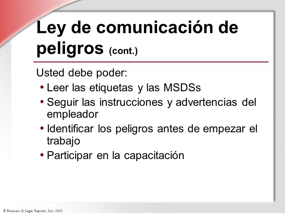 Ley de comunicación de peligros (cont.)