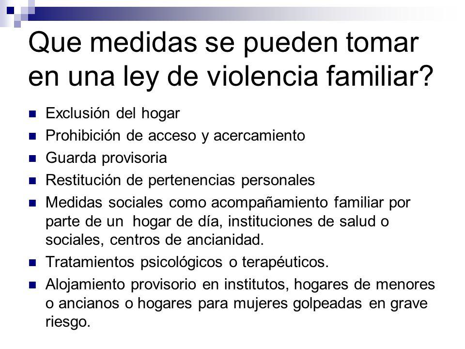 Que medidas se pueden tomar en una ley de violencia familiar
