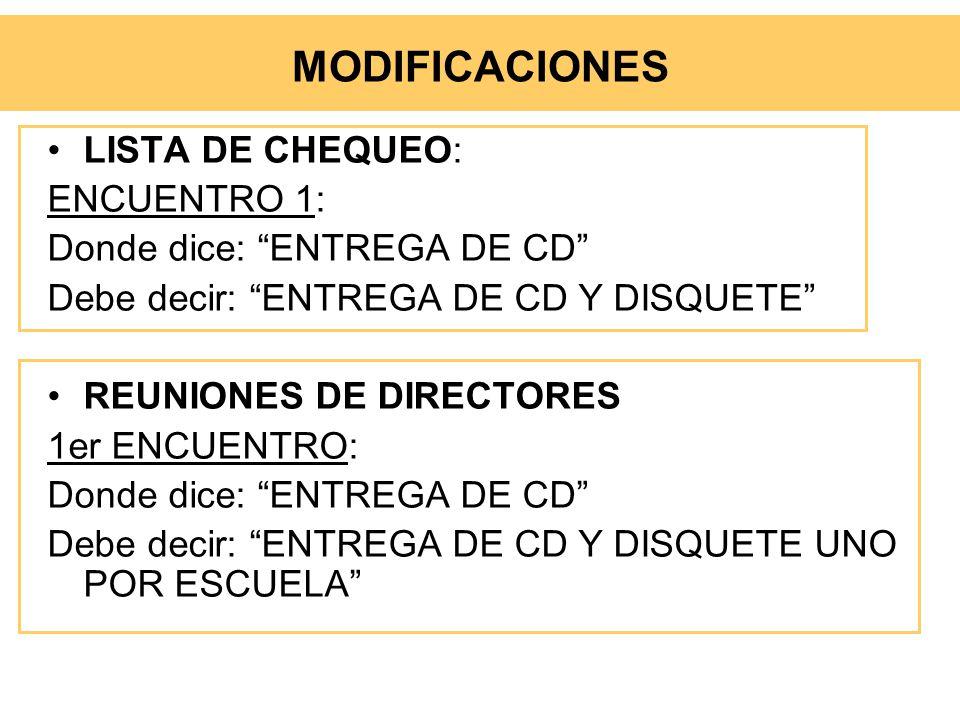 MODIFICACIONES LISTA DE CHEQUEO: ENCUENTRO 1:
