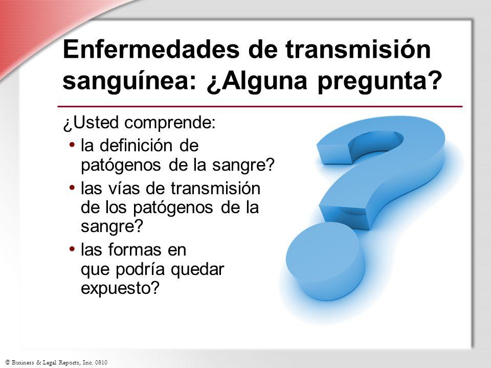 Enfermedades de transmisión sanguínea: ¿Alguna pregunta