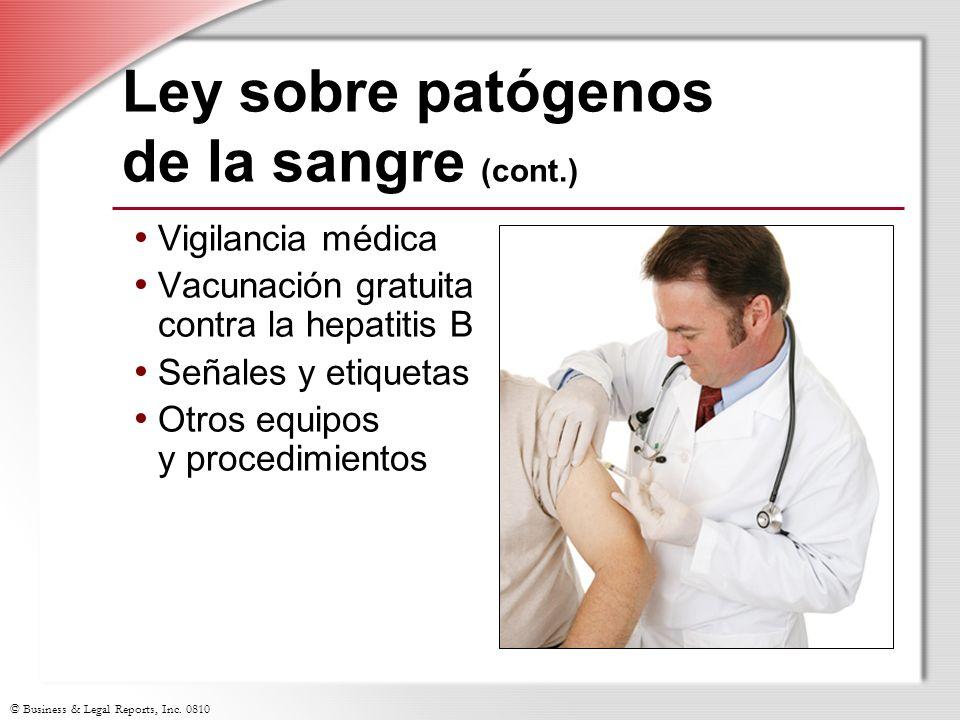 Ley sobre patógenos de la sangre (cont.)