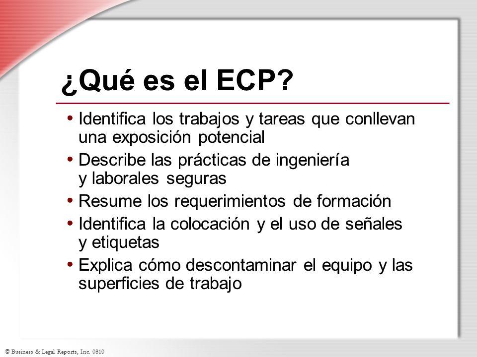 ¿Qué es el ECP Identifica los trabajos y tareas que conllevan una exposición potencial. Describe las prácticas de ingeniería y laborales seguras.