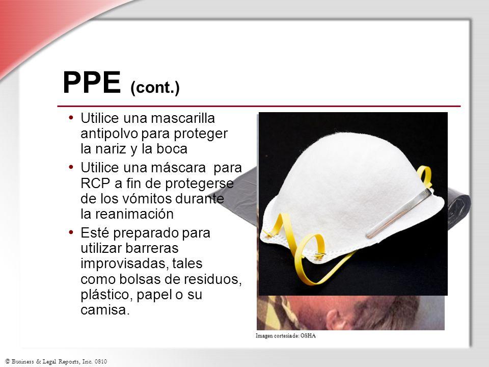 PPE (cont.) Utilice una mascarilla antipolvo para proteger la nariz y la boca.