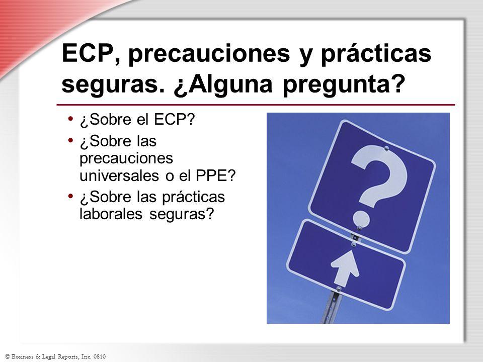 ECP, precauciones y prácticas seguras. ¿Alguna pregunta